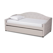 Baxton Studio Becker Modern and Contemporary Transitional Beige Fabric Upholstered Twin Size Daybed with Trundle